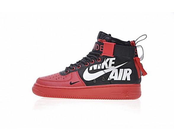 12 O'Clock Boys X Nike Sf Air Force 1 Mid Qs Schuhe Unisex Rot/Schwarz Weiß