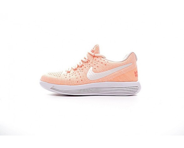 881674-801 Damen  Nike Lunarepic Low Flyknit 2 Schuhe Orange/Weiß