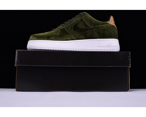 896185-300 Nike Air Force 1 '07 Low Velvet Outdoor Grün/Summit Weiß Schuhe Unisex