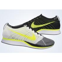 Unisex Weiß/Schwarz/Volt Schuhe Nike Flyknit Racer 526628-170