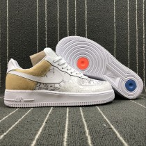 A09281-100 Nike Air Force 1 Low Premium 100 Schuhe Unisex Braun Weiß