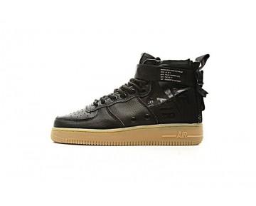 Nike Sf Air Force 1 Mid Qs Unisex 857872-004 Schuhe Schwarz Gum Gelb