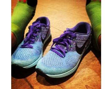 698182-402 Blau/Lila/Schwarz Schuhe Nike  Nike Flyknit Lunar3 Damen