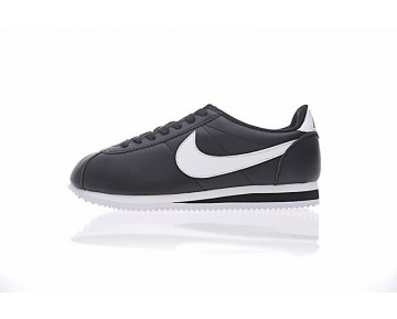 Schwarz/Weiß Unisex Schuhe 807471-010 Nike Classic Cortez Leather