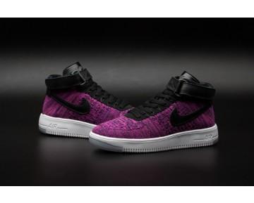 Schwarz Lila Schuhe Nike Air Force 1 Flyknit Damen