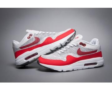 843384-101 Unisex Grau Weiß Rot Schuhe  Nike Air Max 1 Ultra Flyknit