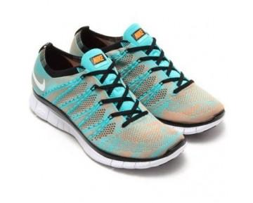 Schuhe Herren 599459-301 Nike Free Flyknit 5.0 Nsw Hyper Jade/Weiß-Total Orange-Schwarz