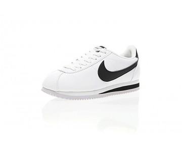807471-101 Unisex Weiß/Schwarz Schuhe Nike Classic Cortez Leather