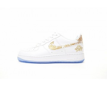 919729-992 Schuhe Nike Air Force 1 Low Premium Lunar New Year Id Unisex Peony Embroidery Weiß Gold