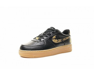 Schuhe Nike Air Force 1 Low Premium Lunar New Year Id Basketball Embroidery Schwarz Gold 919729-992 Unisex