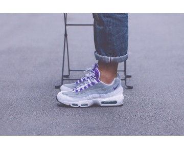 Weiß/Court Lila-Emerald Grün-Wolf Grau Nike Wmns Air Max 95 307960-101 Unisex Schuhe